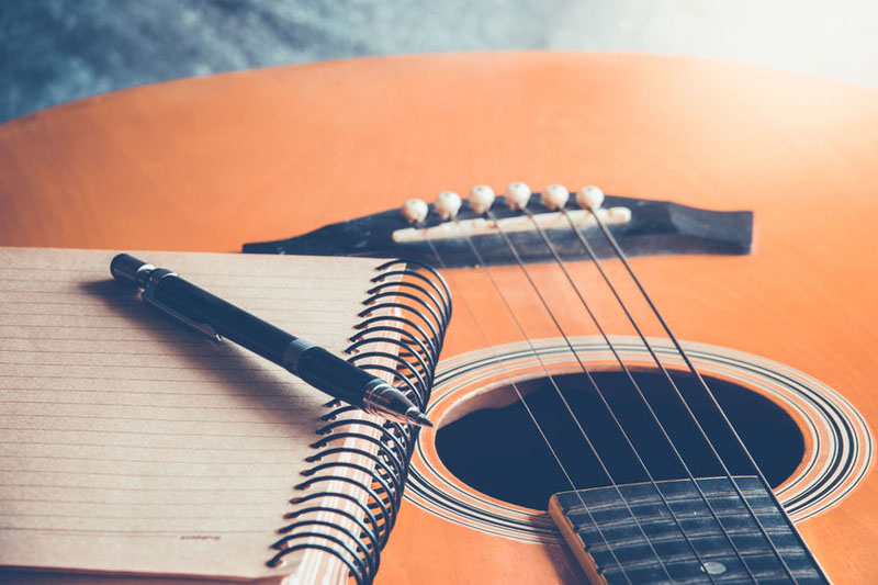 guitar with blank page for composing and creativity music